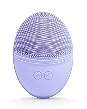 EZBASICS Facial Cleansing Brush made with Ultra Hygienic Soft Silicone Waterproof Sonic Vibrating Face Brush for Deep Cleansing Gentle Exfoliating and Massaging Inductive charging Violet