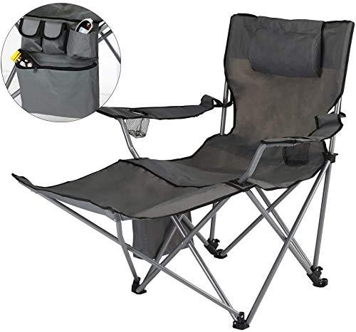 habeig Campingstuhl Faltbar Klappstuhl Gartenstuhl Stuhl mit Fußstütze und GetränkehalterAnglerstuhl