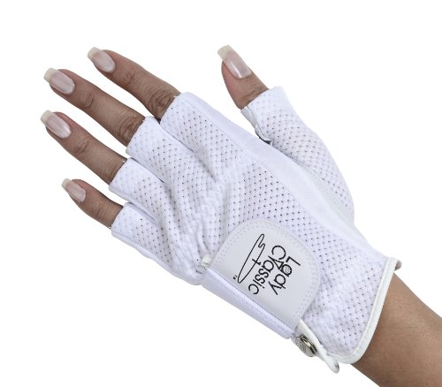 Lady Classic Cabretta 1/2 Finger Golf Glove White Medium LH