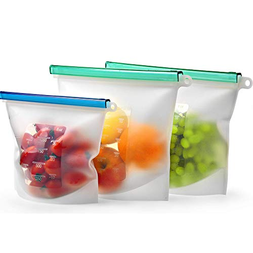 Reusable Silicone Food Storage Bag Set of 3 by Kiva.World - LARGE SIZE 50 OZ & QUART- Freezer Bags Airtight Seal - Hermetic Reusable Produce Bags - Cooking Sous Vide Bags Clear - Fresh Lunch & Snack