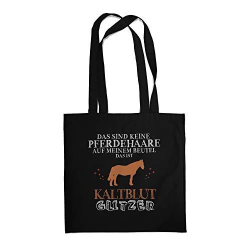 Fashionalarm Stoffbeutel - Das sind Keine Pferdehaare - Kaltblut Glitzer | Fun Beutel Baumwoll-Tasche mit Spruch Geschenk Pferde-Liebhaber Reiten, Schwarz One Size