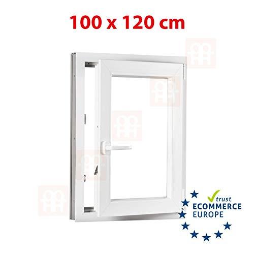 Kunststofffenster | 100x120 cm (1000x1200 mm) | weiß | Dreh-Kipp-Fenster | rechts