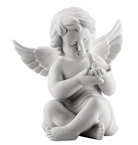 Rosenthal - Engel mit Taube - mittel - weiß matt - Porzellan - 10 cm