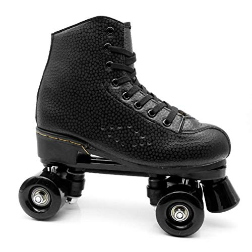 XUDREZ Unisex Roller Skates Double Row Four Shiny Wheels Rubber and PU Leather Classic Adjustable High-top Roller Skates Shoes for Indoor and Outdoor (Black Without Light,41-US:8)