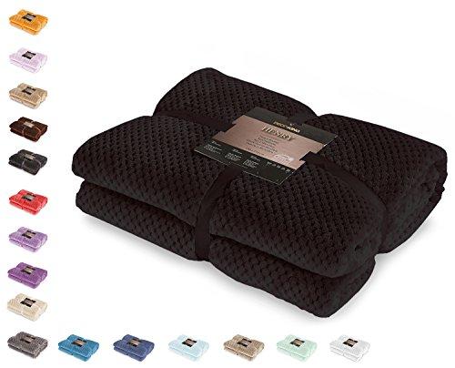 DecoKing 59043 Kuscheldecke 220x240 cm schwarz Decke Microfaser Wohndecke Tagesdecke Fleece weich sanft kuschelig skandinavischer Stil Henry