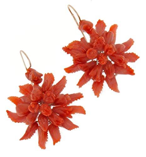 Viganò, Orecchini oro e corallo rosso di Sardegna inciso