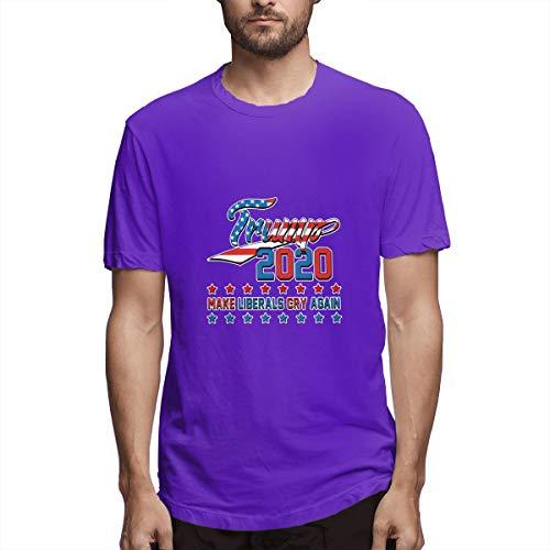 Make America Great Again Men's Short Sleeve T-Shirts Comfort Soft Men's T Shirt,Purple,S