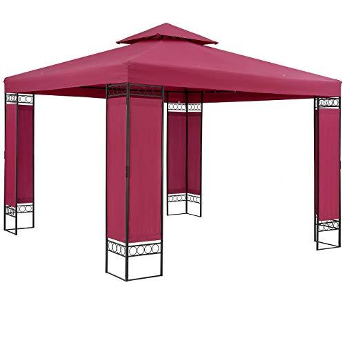 Casaria Pavillon Lorca 3x3m Rot Stabil Wasserabweisend Robust Metall Luxus Gartenpavillon Festzelt Partyzelt Gartenzelt Zelt