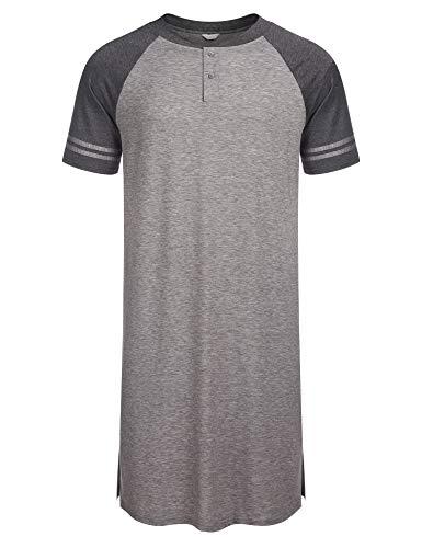 Nachthemd Herren Kurzarm Schlafanzugoberteile Schlafanzug Nachtwäsche mit Knopfleiste Knielang Schlafkleid nachthemden Kurz für Männer Sommer