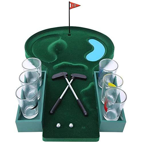 Hengqiyuan Tabla Golf Juego De Bebidas, Mini Tabletop Golf Game Set Entertainment Desktop Golf Party Beer Juego De Bebidas para Adultos,Verde