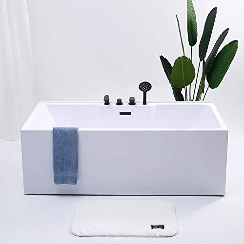 Schwänlein® Whirlpool Badewanne Freistehende Badewanne Exklusive Acryl 170cm mit schwartz Armatur (Rechteckformig ohne Massagedüsen)