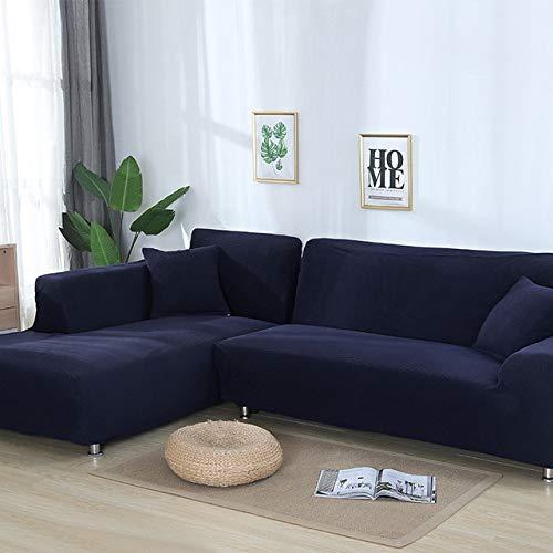 PCSACDF 2 stuks hoezen voor lange sofa Jacquard stretch elastische hoekbank cover woonkamer chaise lounge bank hoezen snit 80-140cm 235-300cm donkerblauw