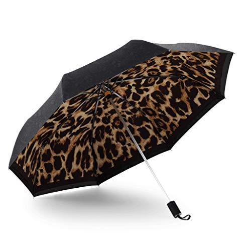 DWQ Turística Paraguas Leopardo de Doble Capa Paraguas de Sol de protección Solar y UV Protección pequeño Paraguas Negro