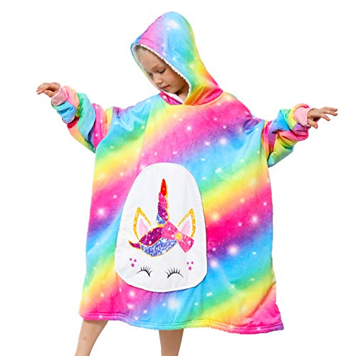 PASHOP Blanket Sweatshirt, Oversized Hoodie Wearable Blankets for Kids Sherpa Hooded Sweatshirt with Large Pocket One Size Fits All (Unicorn)