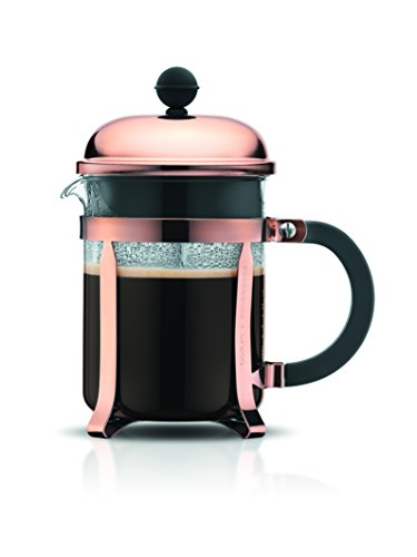 Bodum Chambord Kaffeebereiter 4 Tassen, Chrom, Pink, 10.5 x 16.6 x 19 cm
