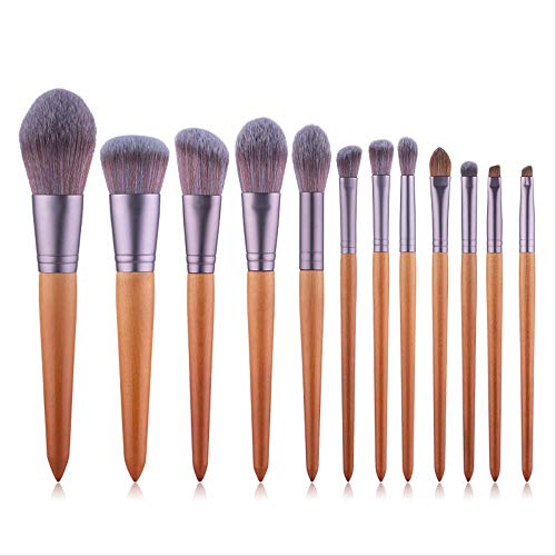 Pinceaux Maquillages 12 Bois Pointe Queue De Sable Brosse Imitation Micro Cristal Cheveux Haut De Gamme Maquillage Beauté Outil De Beauté