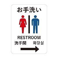 Biijo お手洗い 4ヶ国語 ステッカー 外国人観光客 ゲストハウス 民泊 トイレ (A.矢印右 横145mm x 縦200mm)