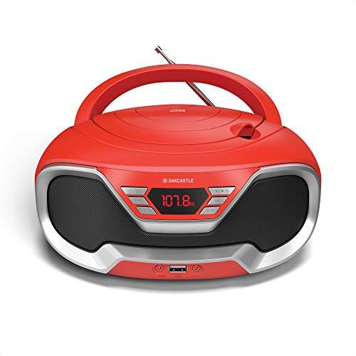 Oakcastle CD200– Radio Cassette Reproductor CD portátil, Bluetooth, Radio FM, Conector AUX 3,5 mm y USB, Equipo de música con Cable y Pilas, con Altavoces estéreo, para Adultos y niños (Rojo)