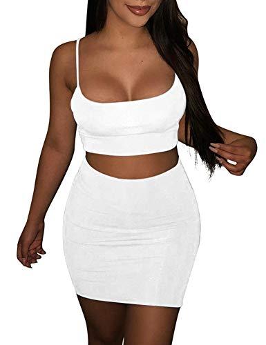 BORIFLORS Women's Sexy 2 Piece Outfits Strap Crop Top Skirt Set Bodycon Mini Dress,Small,White