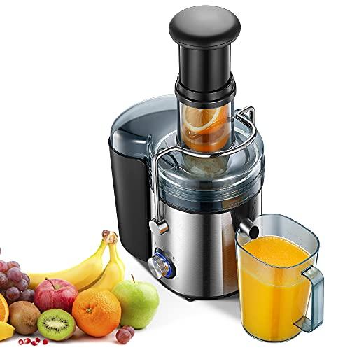 Licuadoras para Verduras y Frutas, 800W Licuadora Con 75MM de Boca Ancha Extractor de Jugos con 2 Velocidades(28000RPM), Pies Antideslizantes, Fácil de Limpiar, Diseño Antigoteo, Libre de BPA