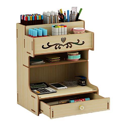 HOTPINK1 Soporte para bolígrafos de madera con cajón multifuncional de escritorio caja de lápices de escritorio para oficina en el hogar y