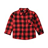 Baby Boy Girl Red Black Plaid Flannel Button Down Long Sleeve Shirt Blouse Fall Winter Clothes NB-5T (Red,...