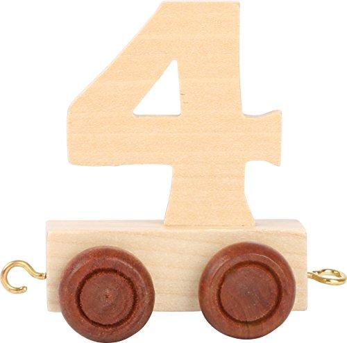 Buchstabenzug | Geburtstags Zahlen und Waggon mit Kerzenhalter | Holzeisenbahn | EbyReo® Namenszug aus Holz | personalisierbar | Geburtstag oder als Deko für den Geburtstagstisch (Zahl 4)