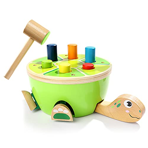 TOP BRIGHT Wooden Hammering and Pounding Toy for 2 3 Years Old Boy Girl Birthday Gifts - Montessori Preschool Education Learning Toy for Toddler, Fine Motor Skills Toy for Kid- Tortoise Pounding Game