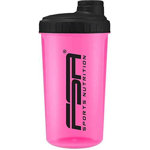 Shaker per Proteine 700 ml del marchio sportivo professionale FSA Nutrition con scala di misurazione e tappo a vite, per frullati dietetici e proteici, privo di BPA - Rosa