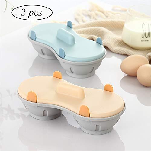 LMFLY Egg Eierkocher Mikrowellenofen Eierkocher Große Kapazität Design Küchenhelfer für Gekochte Eier, Gedämpfte Eier Mikrowelle Gewidmet (数量 Quantity : 2PCS)