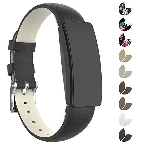 Adepoy für Fitbit Inspire HR Armband, Echt Leder Ersatzarmband Kompatible mit Fitbit Inspire/Inspire HR, Damen Herren (Schwarz, Small)