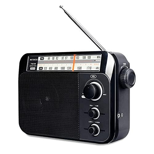 Retekess TR604 Radio Portátil FM Am, Radio de Transistor, con Altavoz Grande Compatibilidad, Batería Alcalina o Alimentación de CA Fácil de Usar para Personas Mayores