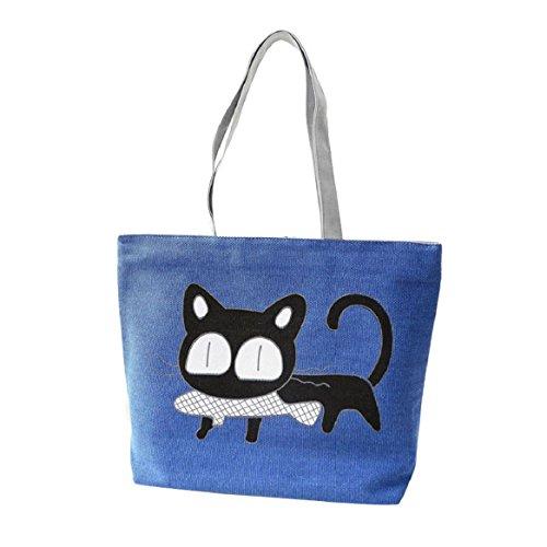Malloom Modo Simpatico Cartone Animato Borsa Borse delle Donne del Gatto di Tela Spalla Borsa Casuale (Blu)