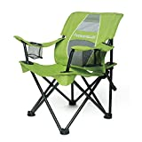 STRONGBACK Prodigy - Kids Folding Heavy Duty Camping Chair with Lumbar Supportive Ergonomics and Portable Carry Bag, Lime Green