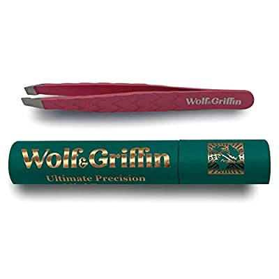 Wolf & Griffin Ultimate Precision Mini Tweezers   Stainless Steel Professional Slant Eyebrow Tweezers for Men and Women   Electric Pink