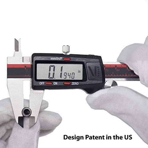 VINCA DCLA-0605 Electronic Digital Vernier Micrometer Caliper Measuring Tool Stainless Steel Large LCD Screen 0-6 Inch/150mm, Inch/Metric/Fractions, Red/Black