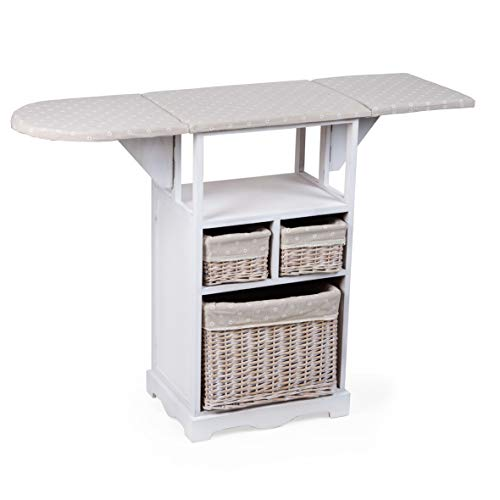 MONTEMAGGI - Mueble de planchado con tabla y 3 cestas de mimbre. De 54 x 36 x 86 cm