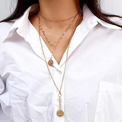 Collar Collares Pendientes Hechos A Mano De Las Mujeres Vintage Oro Plata Color Joyería Gargantilla Cáscara Moneda Estrella Corazón Fiesta Chian Collar Regalo N0361