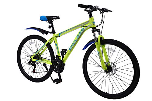 ENDLESS Crux Aluminum-Alloy Fully Loaded Mountain Bike with 21 Speed 27.5T Shimano Gear Box (Yellow)
