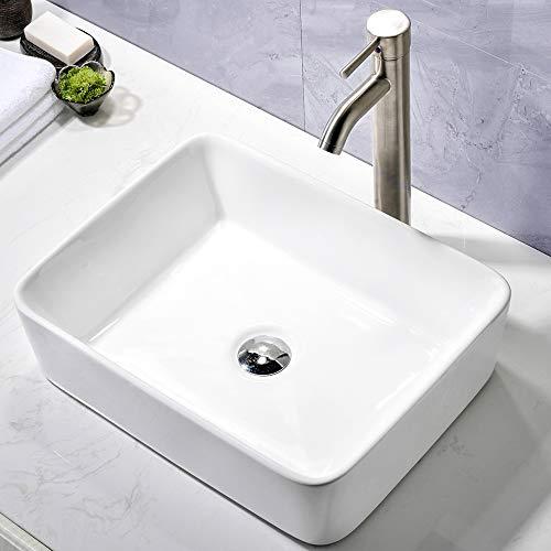Comllen Counter White Porcelain Ceramic 18.9'X14.5' Bathroom Vessel Sink Art Basin