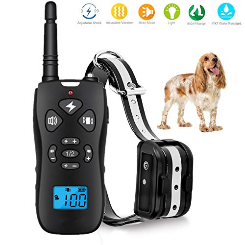 TEMEISI Dog Training Collar, Dog Shock Collar with Remote,with Beep/Vibration/Electric Shock/Light Modes,100% Waterproof Bark Collar,Safe for Small Medium Large Dog P10-1