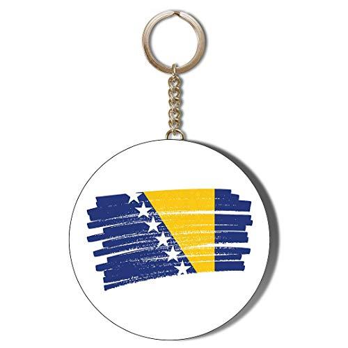 Gift Insanity Llavero de cadena con diseño de bandera de Bosnia de 45 mm