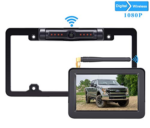 LeeKooLuu HD 1080P Digital Wireless Backup Camera 5'' Display License Plate Hitch Rear View Camera for Trucks,Cars,Campers,Mini RVs IP69 Waterproof Front View Night Vision Clear