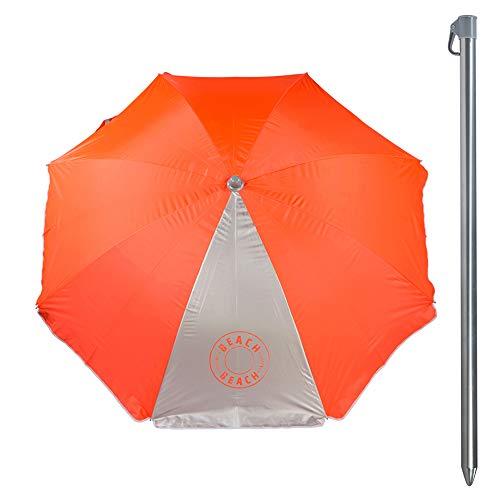 Aktive 85296 Sombrilla Protección Rayos Uv, Diámetro 200 cm, Naranja Neón