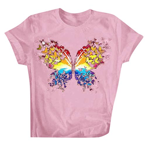 Buy Discount CrazyFashion Women's Casual Loose Round Neck Short Sleeve Letter Butterfly Print Top Bl...