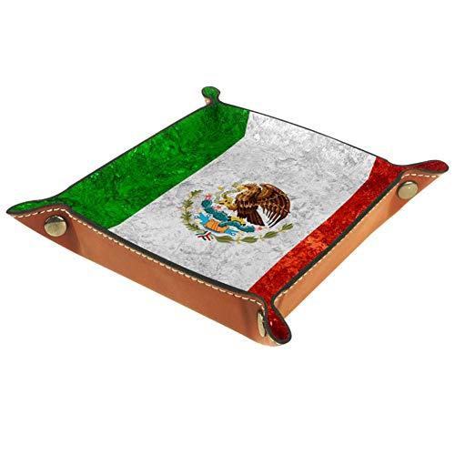 ASDQWE - Banner mexicano con diseño de bandera de México en bandeja de piel para guardar llaves, teléfono, monedas, relojes, etc., café, Bandera mexicana en vintage, 16x16cm
