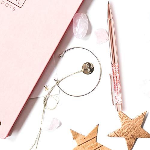 ZZTX 4 Pcs Rose Gold Ballpoint Pens Metal Pen Bling Dynamic Liquid Pieces Pen With Refills Black Ink Office Supplies Gift Pens For Christmas Wedding Birthday Photo #7