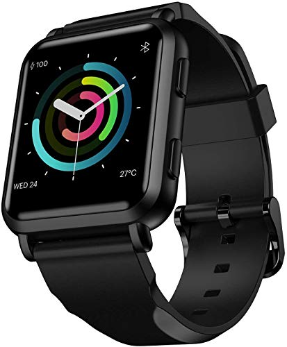 FINFIT GTM Smart Watch with Built-in GPS, Healt&Fitness Tracker 24/7 Heart Rate Monitor, Full Touch Screen, Sleep Monitor with Smart Notifications, IP68 Waterproof(Stealth Black)