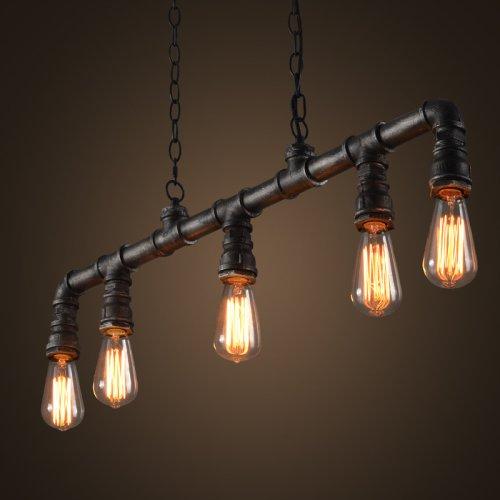 LightInTheBox Lámpara de araña de estilo industrial vintage con tubo de agua de estilo retro clásico Edison, iluminación personalizada de 110 – 120 V