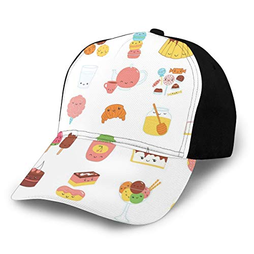 Hip Hop Sun Hat Baseball Cap,Dessert Concept Sketches Ice Cream Donut Cake Honey Cupcake Chocolate Everything Sweet,for Men&Women